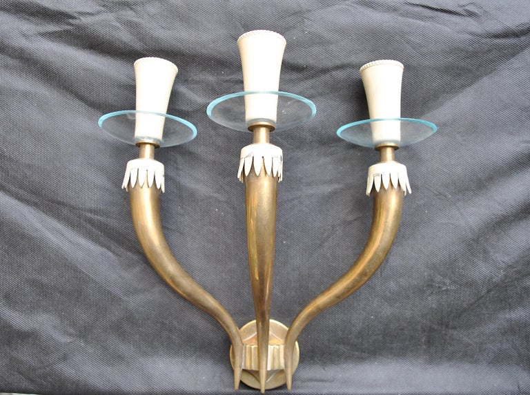 Mid-Century Modern Italian Midcentury Wall Light After Gio Ponti for Fontana Arte in Brass, 1950s For Sale
