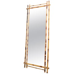 Italian Midcentury Wall Mirror in Real Bamboo Frame, 1960s