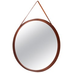 Italian Midcentury Wall Mirror in Teak with Leather Strip, 1950s