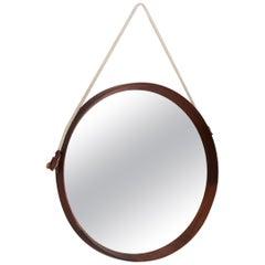 Italian Midcentury Wall Mirror in Teak with Nylon Strip, 1950s