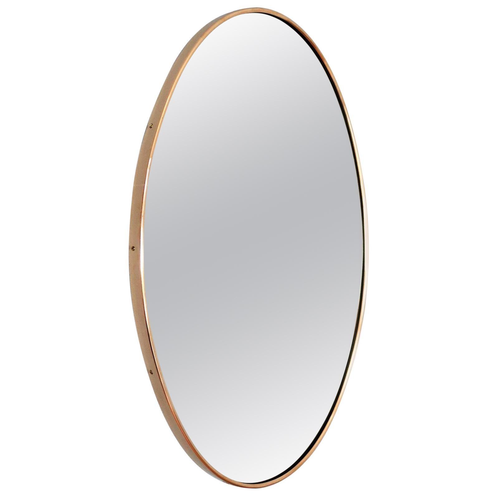 Italian Regency Wall Mirror with Brass Frame, 1970s