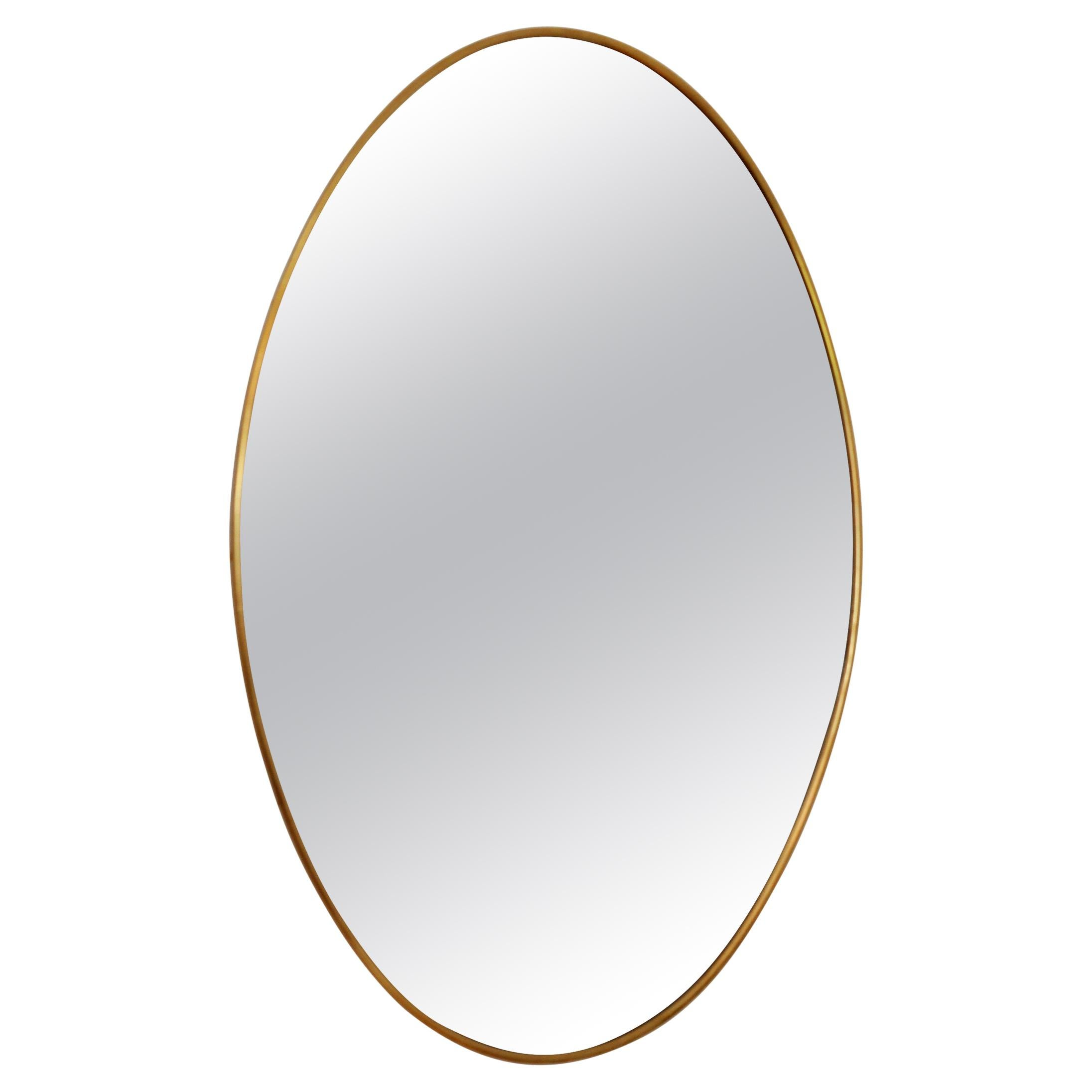 Italian Midcentury Wall Mirror with Brass Frame, 1950s