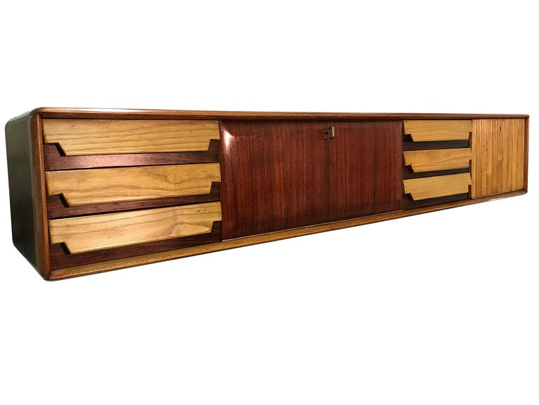 Italian Mid-Century Wall Mounted Sideboard with Drawers by Vittorio Dassi, 1950s For Sale 3
