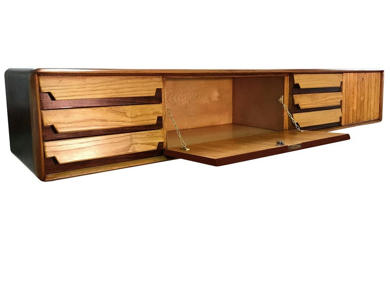 Italian Mid-Century Wall Mounted Sideboard with Drawers by Vittorio Dassi, 1950s For Sale 4