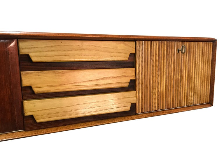 Italian Mid-Century Wall Mounted Sideboard with Drawers by Vittorio Dassi, 1950s For Sale 5