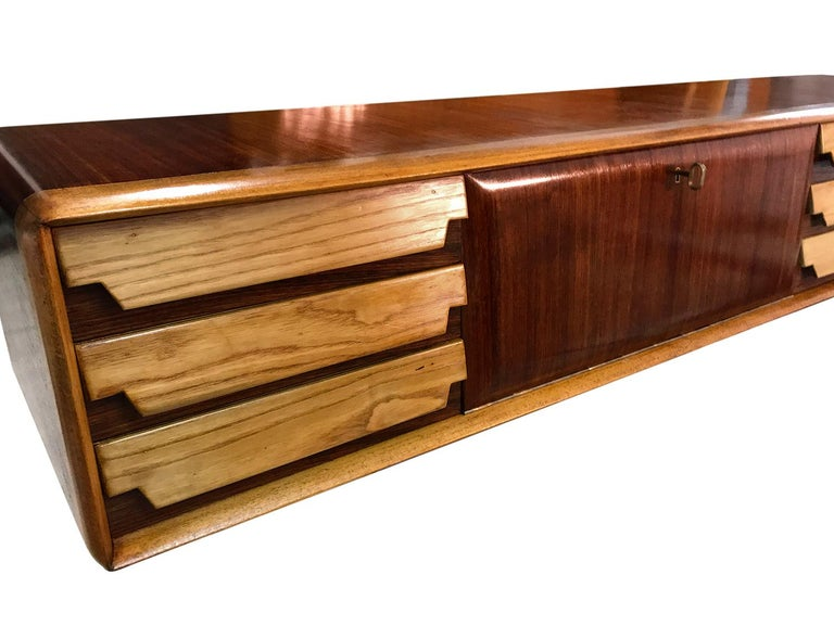 Italian Mid-Century Wall Mounted Sideboard with Drawers by Vittorio Dassi, 1950s For Sale 6