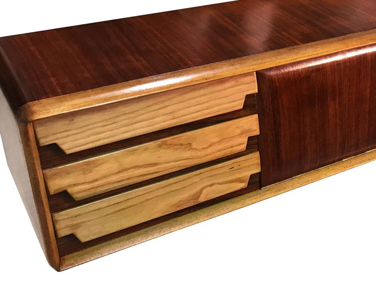 Italian Mid-Century Wall Mounted Sideboard with Drawers by Vittorio Dassi, 1950s For Sale 8