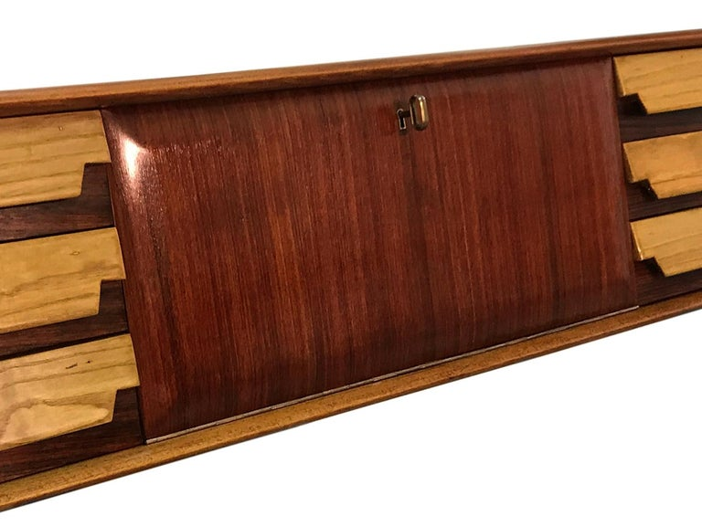 Italian Mid-Century Wall Mounted Sideboard with Drawers by Vittorio Dassi, 1950s For Sale 11