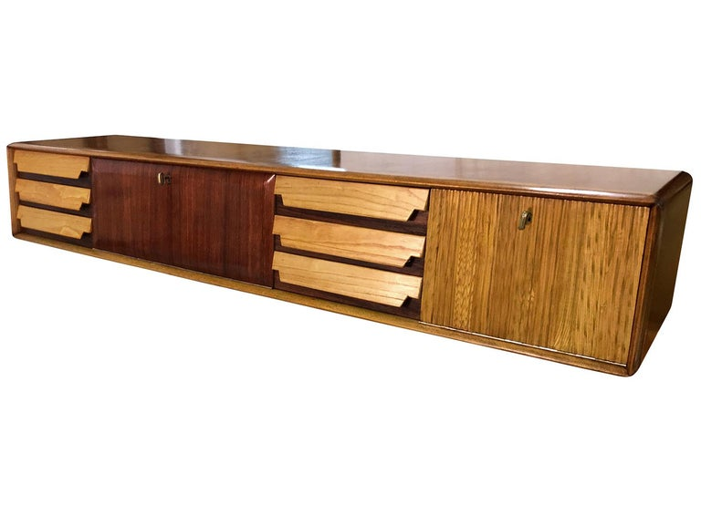 European Italian Mid-Century Wall Mounted Sideboard with Drawers by Vittorio Dassi, 1950s For Sale