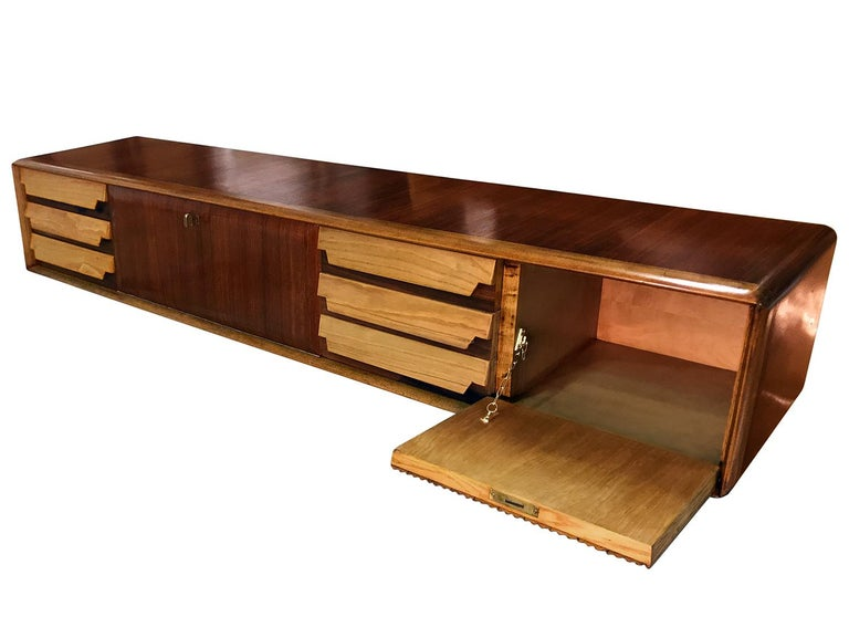 Italian Mid-Century Wall Mounted Sideboard with Drawers by Vittorio Dassi, 1950s In Good Condition For Sale In Traversetolo, IT