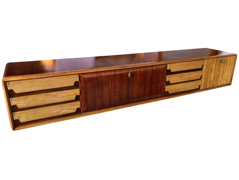 Teak Italian Mid-Century Wall Mounted Sideboard with Drawers by Vittorio Dassi, 1950s For Sale