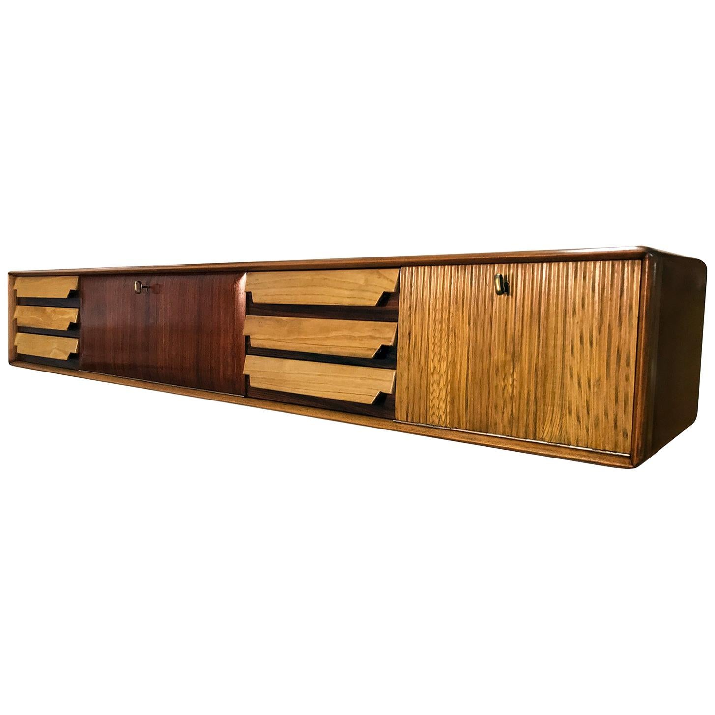 Italian Mid-Century Wall Mounted Sideboard with Drawers by Vittorio Dassi, 1950s