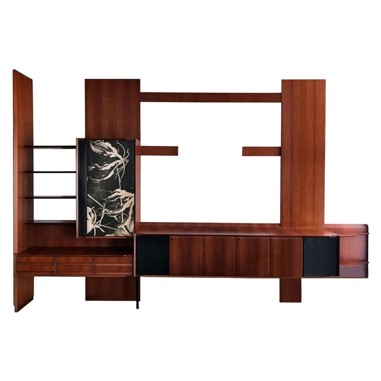 Italian Midcentury Wall Unit or Bookcase by Vittorio Dassi, 1950s For Sale