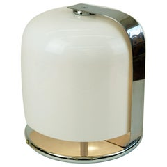 Italian Midcentury White and Chrome Table Lamp Alvise by L. Massoni for Guzzini