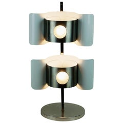 Italian Midcentury White Lacquered Metal and Chrome Table Lamp
