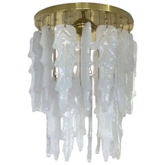 Italian Midcentury White Murano Glass Chandelier by Mazzega, 1970s