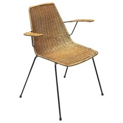 Italian Midcentury Wicker Chair with Armrest by Campo e Graffi, 1950s
