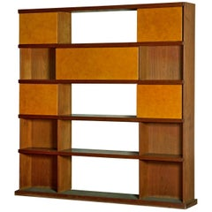 Italian Midcentury Wood and Leather Bookcase