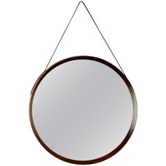 Italian Midcentury Wood and Leather Circular Wall Mirror