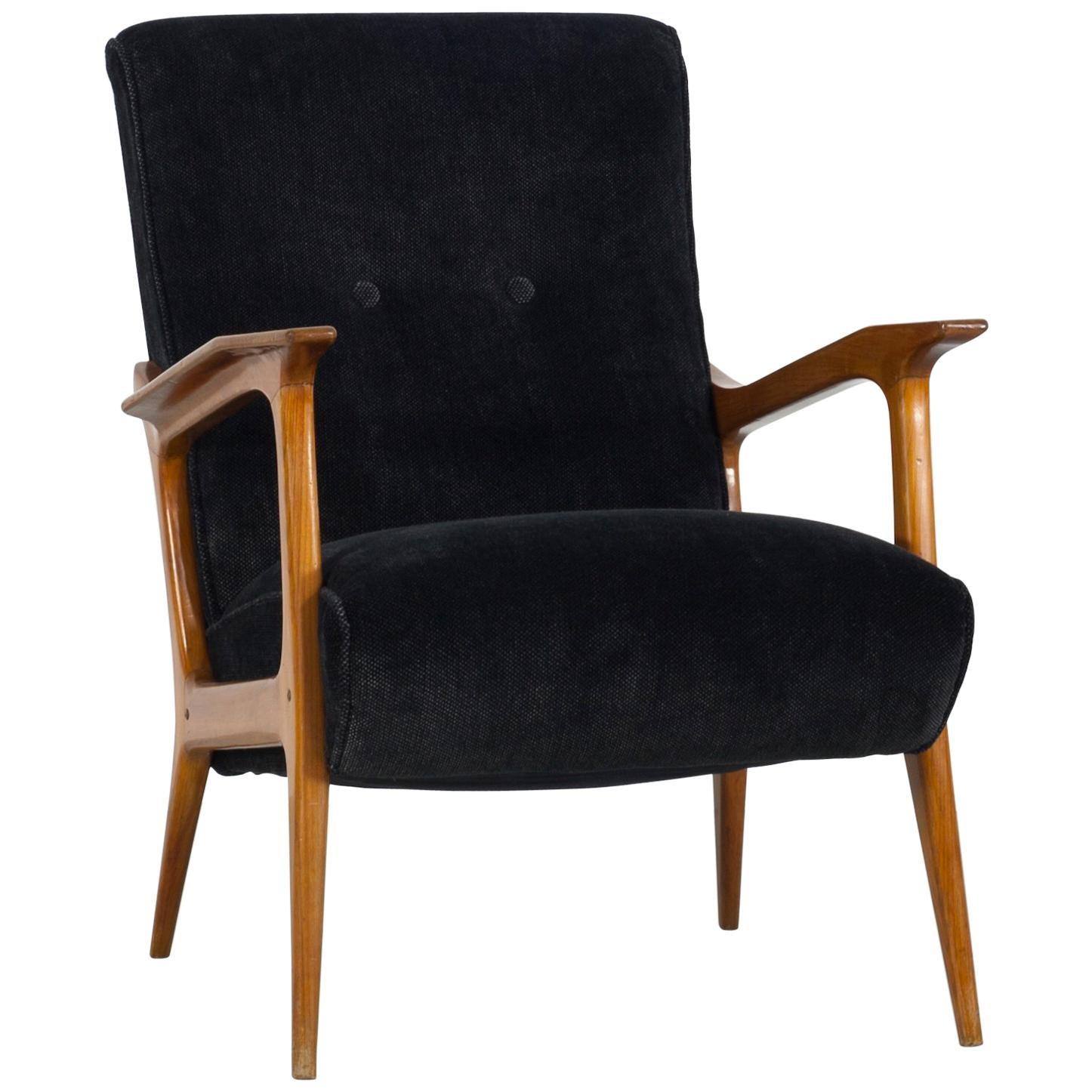 Italian Midcentury Wooden Accent Chair