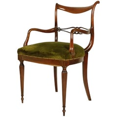 Italian Midcentury Wooden and Green Velvet Armchair with Sculptural Armrest