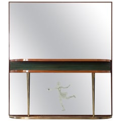 Italian Midcentury Wooden Mirror Console with Green Back Panelling, 1950