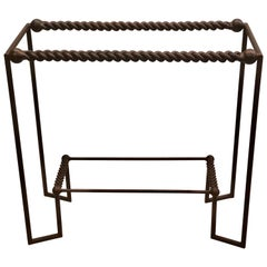 Italian Midcentury Wrought and Braided Iron Console by Giovanni Banci