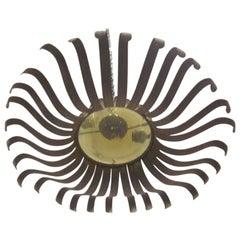 Italian Midcentury Wrought Iron and Blown Glass Sunburst Flush Mount / Pendant
