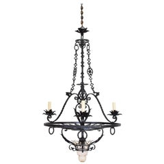 Italian, Milano Wrougt Iron and Glass Four-Light Chandelier