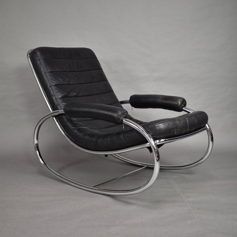 Brilliant Italian Milo Baughman Style Rocking Chair In Chrome And Leather Circa 1970 Gmtry Best Dining Table And Chair Ideas Images Gmtryco