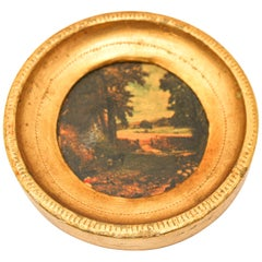 Italian Miniature Painting in Round Gilt Frame