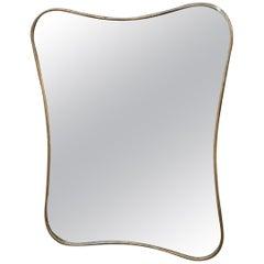 Italian Minimal Curvilinear Brass Mirror, 1950s