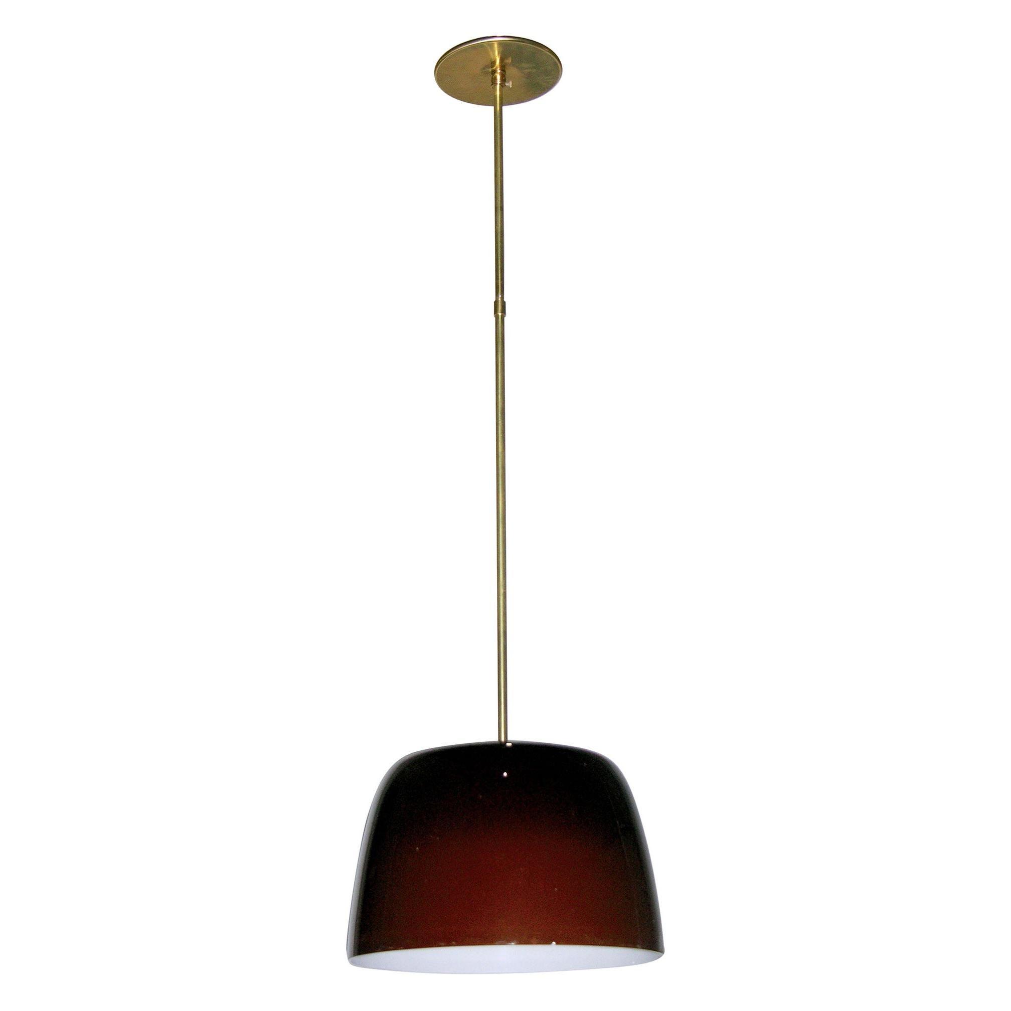 Italian Minimalist Brass and Coffee Brown Murano Glass Pendant Light, 1970s