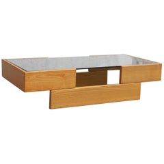 Italian Minimalist Coffee Table in Ash with Grey Glass, 1970s