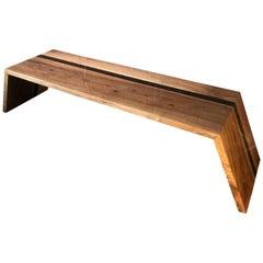 Italian Minimalist Monolithic Oak Bench