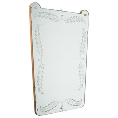 Italian Mirror, 1930s, Etched Decor