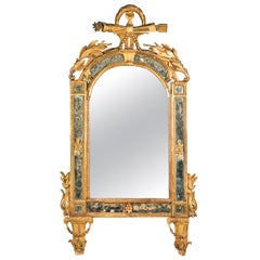 Italian Mirror Carved Gilt Wood, Italy, 18th Century, Venice Glass Decorations