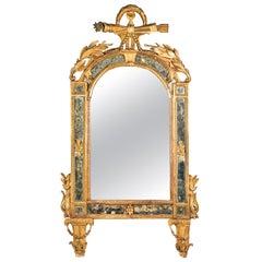 Italian Mirror Carved Gilt Wood, Italy, 18th Century, Venice Glass Decorations