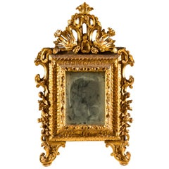 Italian Mirror Carved Giltwood, Italy, 18th Century, Baroque Rococo Frame