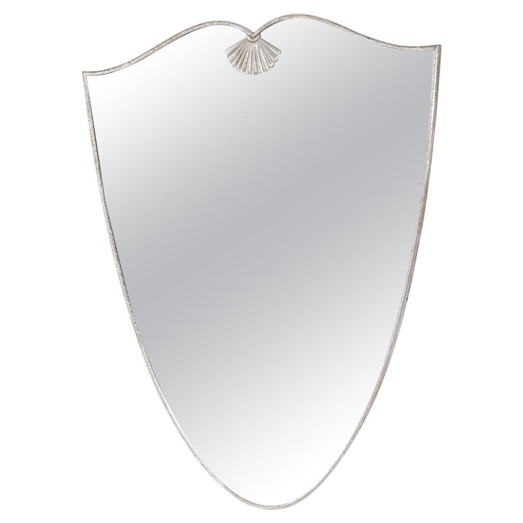 Italian Mirror in Nickeled Brass, 1940s