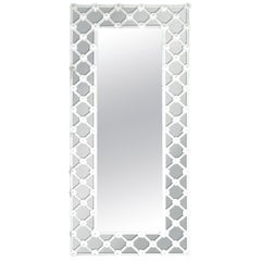 Italian Mirror w/ White Murano Glass in Venetian Crisscross Design, 1990s