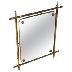 Italian Mirror with Brass Structure 1960s in Tiki Style