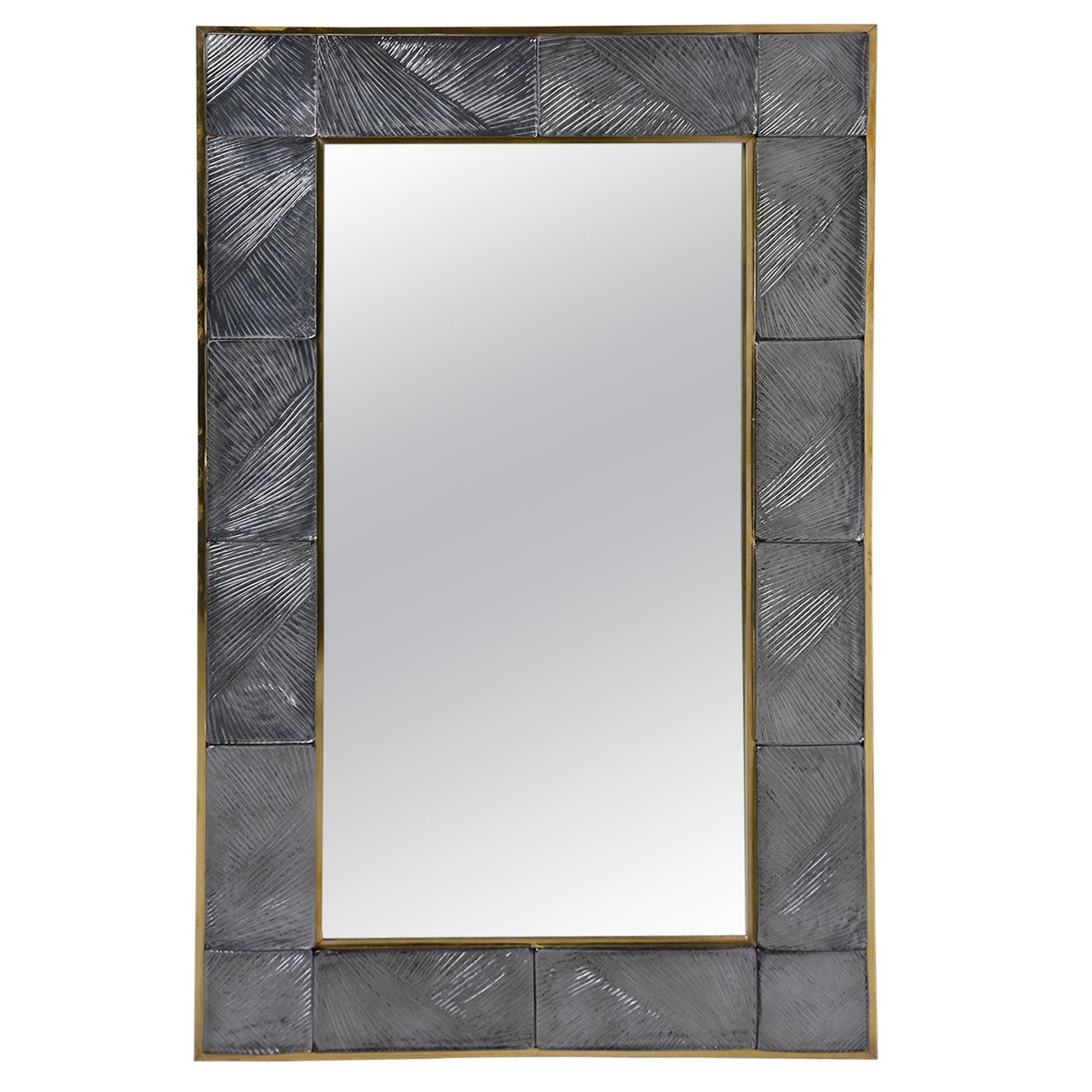 Italian Mirror with Heavy Murano Glass and Brass Frame
