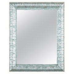 Italian Mirror with Murano Aquamarine Glass Frame