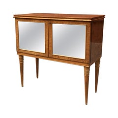 Italian Mirrored Briar Bar Cabinet, 1940s