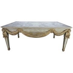 Italian Mirrored Carved Wood Swaged Coffee Table, circa 1940