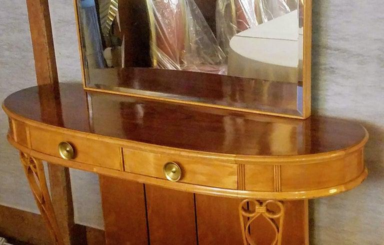 Appliqué Italian Mirrored Console 1940s Neo Classical Atilio Fagioli Florence For Sale