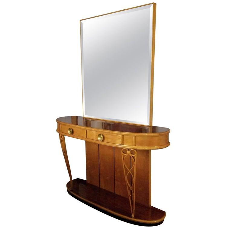 Italian Mirrored Console 1940s Neo Classical Atilio Fagioli Florence For Sale