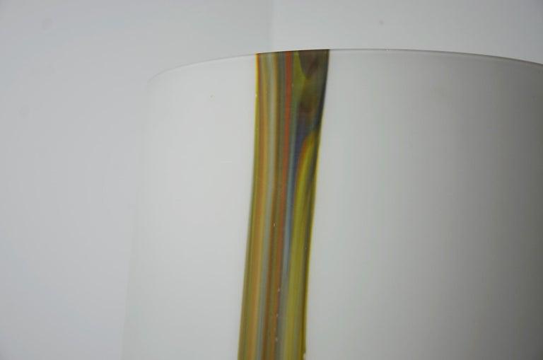 Italian Missoni Style White, Brown, Orange and Blue Murano Art Glass Table Lamp For Sale 6