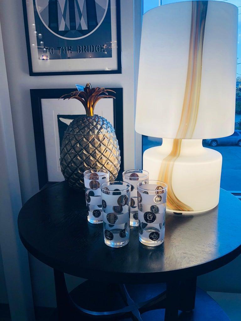Italian Missoni Style White, Brown, Orange and Blue Murano Art Glass Table Lamp For Sale 14